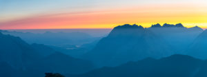 Sunrise over the Karwendel Mountains in Austria.