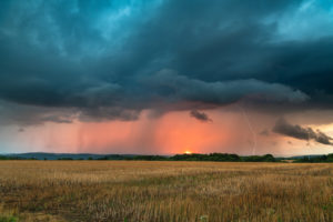 Thunderstorm cell over Thuringia at sunset.