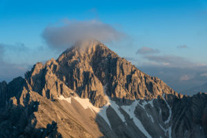 View of the Reither Spitze (2374 m) in the Karwendel Mountains in Austria.