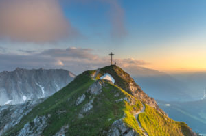 Sunset in the Karwendel Mountains with a view of the Seefelder Spitze (2221 m) in Austria.