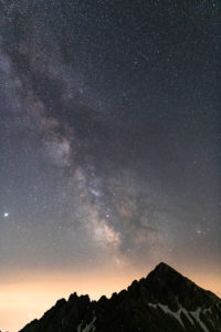 Milky Way over the Reither Spitze (2374 m) in the Karwendel Mountains in Austria.