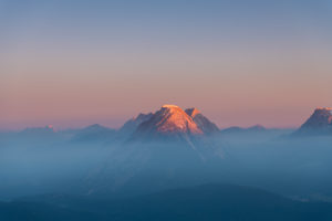View of the Hohe Munde in the Karwendel Mountains at sunrise.