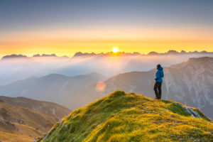 Sunrise in the Karwendel Mountains in Austria. View from the Seefelder Spitze.