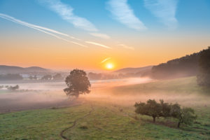 Sunrise with ground fog in Thuringia, Germany.