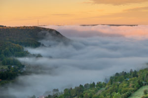 Morning mist over Jena in Thuringia, Germany.