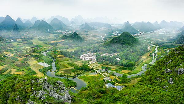 Sonnenuntergang Yangshou (Guilin) in China