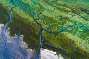 Aerial photos of the Wadden Sea at low tide, Sankt Peter-Ording, Schleswig-Holstein, Germany