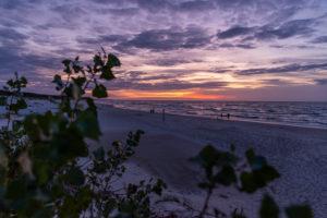 Sunset on the beach in Leba, Poland