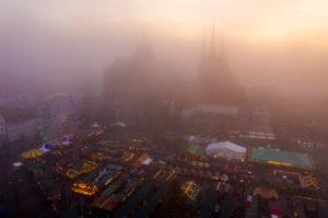 Erfurt Christmas market fog at sunset, Germany