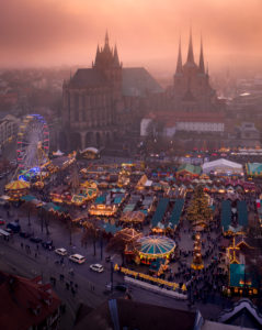Erfurt Christmas market fog at sunset, Germany