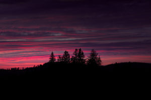 Colorful Sunset over the Silhouette of the Mountains, Highlands, Autumn, Europe, Germany, Black Forest, Schonach, Turntalstrasse,