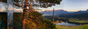 Summit cross at Gerold, reflection, Karwendel Mountain Range, sunset glow