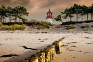 Gellen Lighthouse on Hiddensee island in the afternoon light