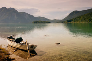 Rowing boat on Lake Walchensee