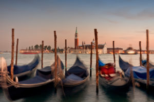 Swaying gondolas in the evening light
