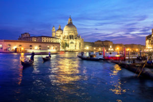 Gondolas on the Grand Canal, blue hour
