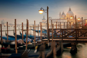 Gondolas, St Mark's Square in the background, blue hour