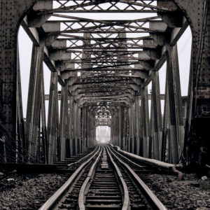 Old 'Long Bien#- railway bridge over the Red River in Hanoi, Vietnam