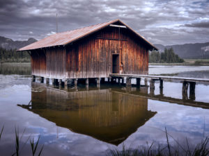 Old boathouse at Lake Hopfensee in the Allgäu region