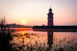 Leuchtturm Moritzburg, See, Spiegelung, Sonnenaufgang