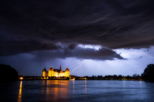 Schloss Moritzburg, See, Spiegelung, Gewitter, Unwetter