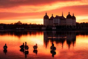 Schloss Moritzburg, See, Spiegelung