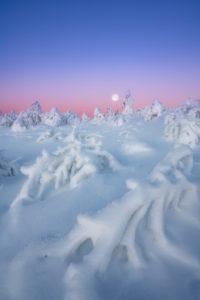 Vollmond, Winterlandschaft, Fichtelberg