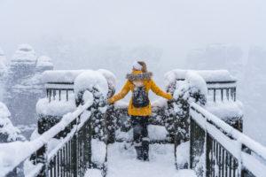 Sächsische Schweiz, Winterlandschaft, Nationalpark, Bastei, Person