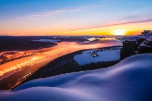 Sächsische Schweiz, Winterlandschaft, Sonnenaufgang, Nationalpark, Lilienstein, Königstein