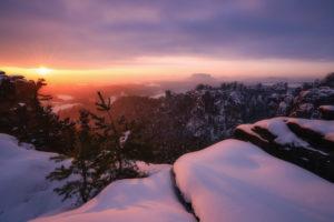 Sächsische Schweiz, Winterlandschaft, Sonnenaufgang, Nationalpark, Bastei