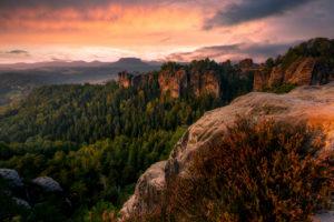 Sächsische Schweiz, Bastei, Sonnenaufgang, Nationalpark, Heidekraut