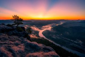 Sächsische Schweiz, Lilienstein, Sonnenaufgang, Nationalpark