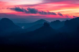 Sonnenaufgang, Sächsische Schweiz, Winterberg, Berge, Felsen, Sachsen, Deutschland, Nationalpark