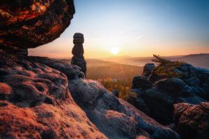 Sonnenaufgang, Sächsische Schweiz, Barbarine, Sachsen, Deutschland, Nationalpark