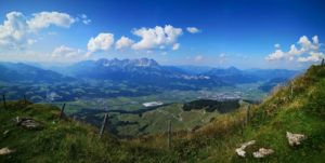 View from the Kitzbüheler Horn to the Wilder Kaiser and the surrounding towns from Kitzbühel to Kirchberg and St. Johann great late summer weather