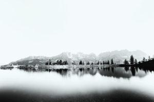Astbergspeichersee in Going am Wilden Kaiser mit der wundervollen Spiegelung des Wilden Kaisers