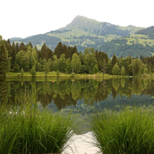 Reflections from the Kitzbüheler Horn in the Schwarzsee near Kitzbühel in Tyrol