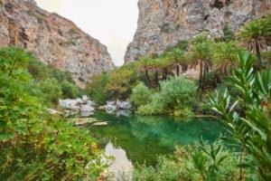 Landscape from palm beach at Preveli lagoon, Pond, Crete, Greece