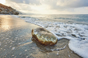 Landscape, pebble at the seaside at Preveli beach, Crete, Greece