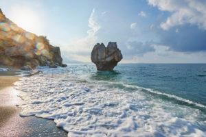 Landscape, sunrise at the seaside at Preveli beach, Crete, Greece