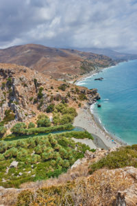 Landscape from the coast at Preveli beach and the palm beach at Preveli lagoon, Crete, Greece