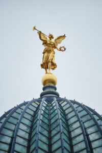 Dresden, Dome of the Art Academy, Fama, Dresden, Saxony, Germany