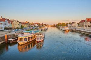 Cruise ships; Regensburg; Bavaria; Germany