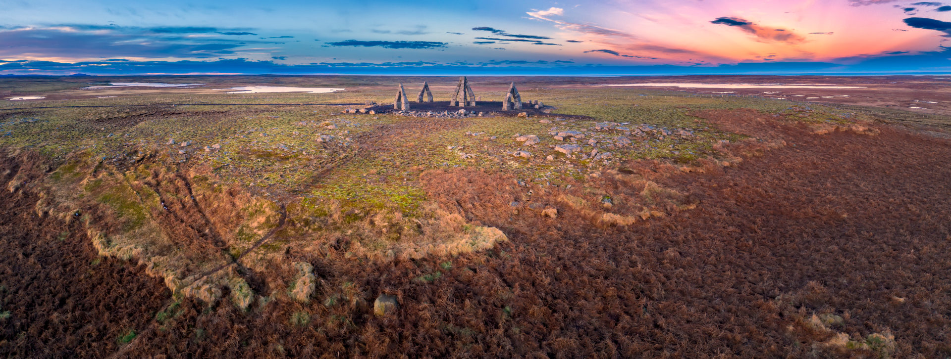 The Arctic Henge, (Heimskautsgerdi), inspired by Stonehenge, a huge sundial in a remote northern eastern village, Raufarhofn, Iceland