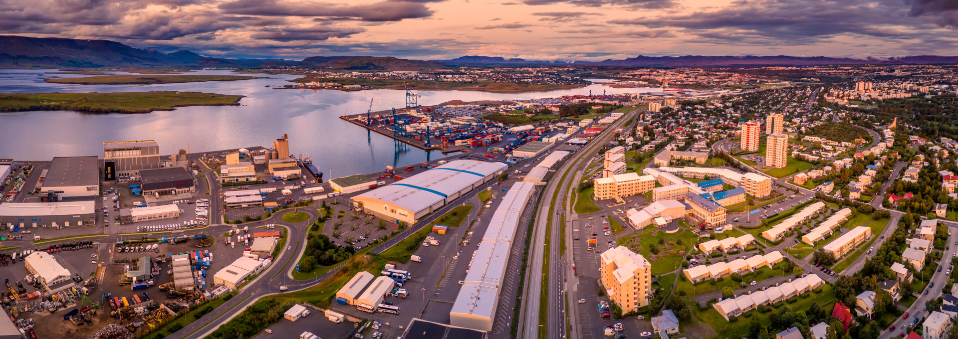 Shipping port, Sundahofn and buildings,  Reykjavik, Iceland