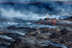 Volcano Eruption at the Holuhraun Fissure near Bardarbunga Volcano, Iceland. August 29, 2014 a fissure eruption started in Holuhraun at the northern end of a magma intrusion, which had moved progressively north, from the Bardarbunga volcano. Bardarbunga is a stratovolcano located under Vatnajokull, Iceland's most extensive glacier. Picture Date-Sept. 3, 2014