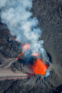 Volcano eruption at the Holuhraun Fissure near the Bardarbunga Volcano, Iceland.  August 29, 2014, a fissure eruption started in Holuhraun at the northern end of a magma intrusion which had moved progressively north, from the Bardarbunga volcano. Picture date Sept 3, 2014. the