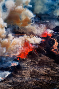 Volcano Eruption at the Holuhraun Fissure near Bardarbunga Volcano, Iceland. Aerial view of lava and plumes. August 29, 2014 a fissure eruption started in Holuhraun at the northern end of a magma intrusion, which had moved progressively north, from the Bardarbunga volcano.  Picture Date-Sept. 3, 2014