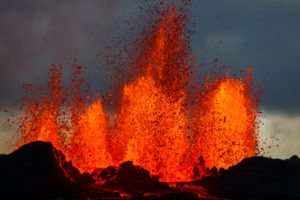 Lava fountains at the Holuhraun Fissure eruption near Bardarbunga Volcano, Iceland. August 29, 2014 a fissure eruption started in Holuhraun at the northern end of a magma intrusion, which had moved progressively north, from the Bardarbunga volcano. Bardarbunga is a stratovolcano located under Vatnajokull, Iceland's most extensive glacier. Picture Date-Sept. 2, 2014
