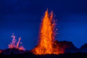 Lava fountains at the Holuhraun Fissure eruption near Bardarbunga Volcano, Iceland. August 29, 2014, a fissure eruption started in Holuhraun at the northern end of a magma intrusion that had moved progressively north, from the Bardarbunga volcano.  Picture date- Sept 2, 2014